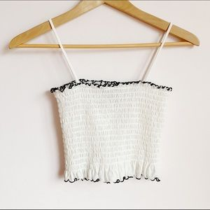 stretchy white thin strap tube top/cropped tanktop